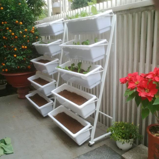 Kệ trồng rau tam giác 5 tầng