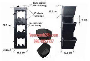Bộ chậu vườn treo tường đứng hay module vườn tường đứng