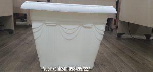 Chậu vuông hoa văn V48 (màu trắng )48x48x39cm